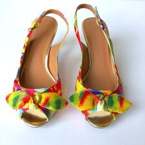 Etienne Aigner Floral Bow Peep Toe Heels
